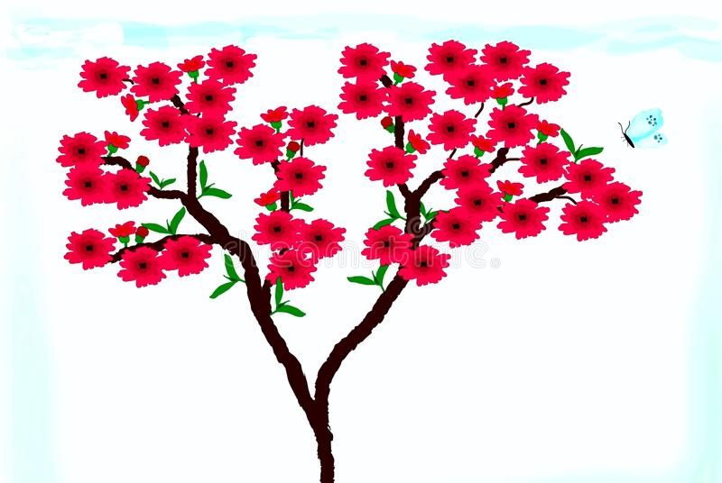 Clipart mit Pfirsichblüten lizenzfreies stockbild