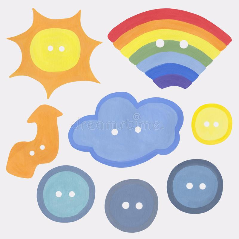 Clipart multicolored sewing buttons isolated on a white background. Various elements: rainbow, sun, cloud, lightning. Kids set for. Clipart multicolored sewing vector illustration