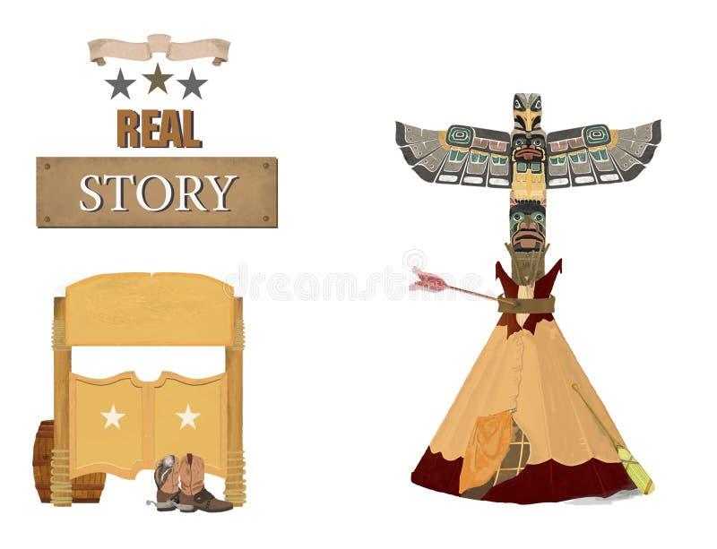 Clipart ocidental do indiano do totem do bar e da tenda Estilo do vintage História de Texas No fundo branco ilustração royalty free