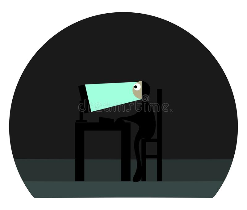 Clipart of an officer working before the laptop at night set on isolated white background viewed from the side vector or color. Clipart of an officer with royalty free illustration