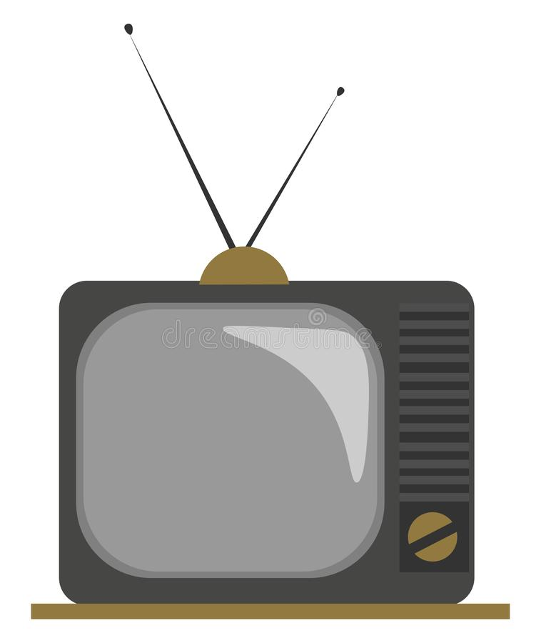 Clipart of an old fashioned TV with two attachable antennas set on isolated white background, vector or color illustration. Clipart of an old fashioned TV with stock illustration