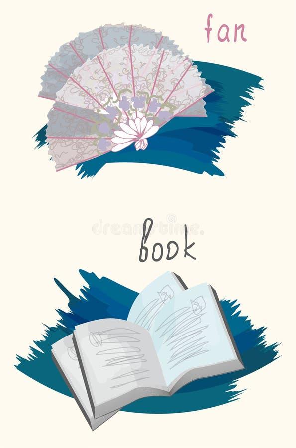 Clipart_old saker watercolor_1 royaltyfri illustrationer