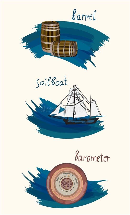 Clipart_old saker watercolor_4 stock illustrationer