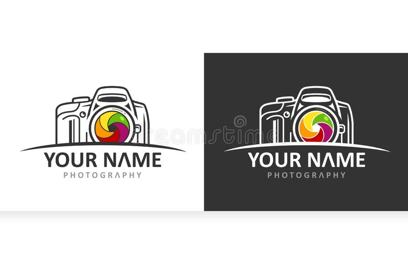 Camera Lens logo Template stock illustration