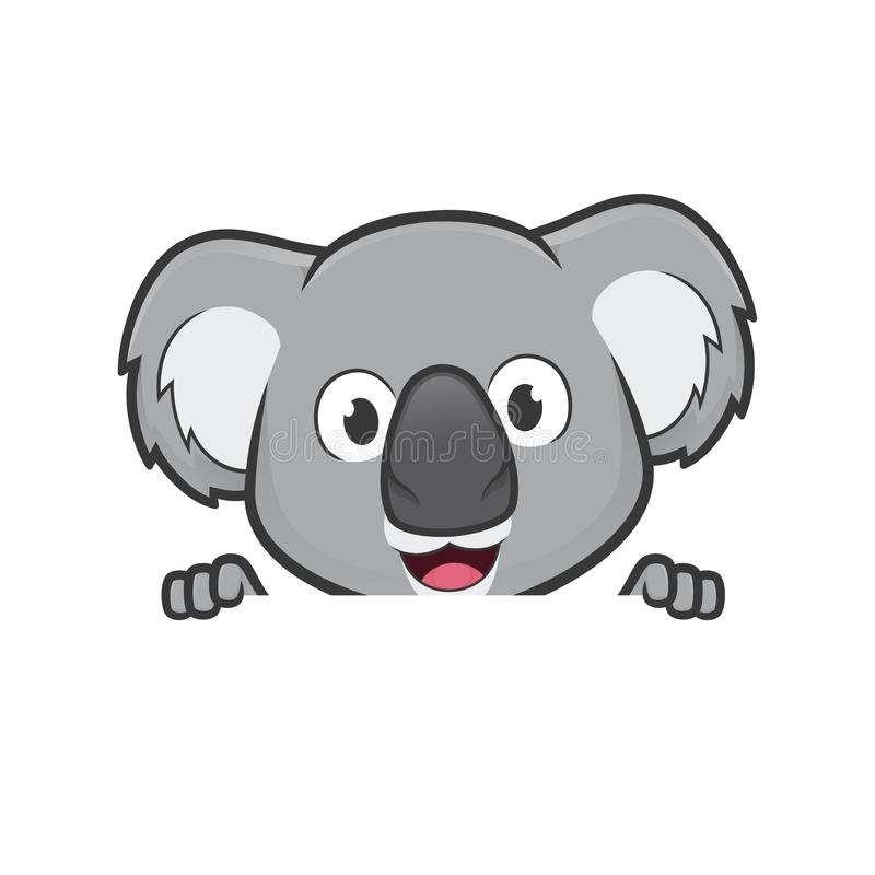 Koala holding and looking over a blank sign board. Clipart picture of a koala cartoon character holding and looking over a blank sign board vector illustration