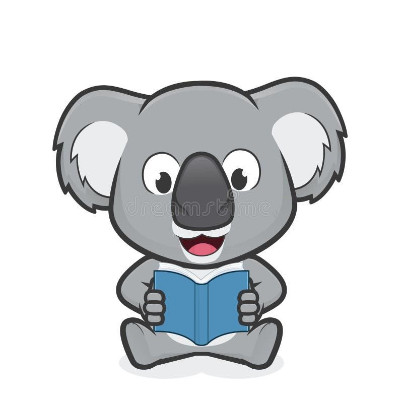 Koala reading a book. Clipart picture of a koala cartoon character reading a book vector illustration
