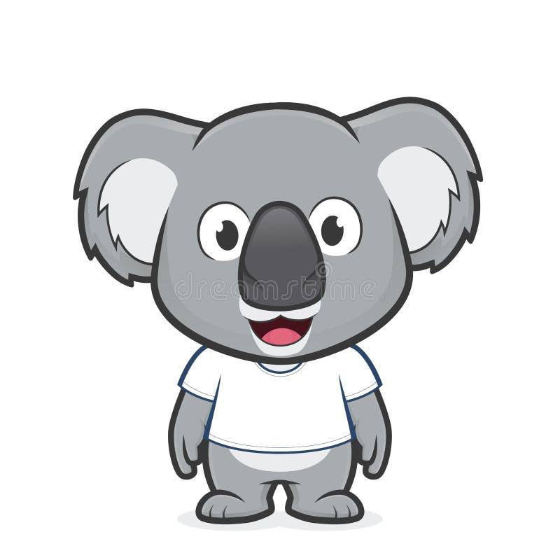Koala wearing white t shirt. Clipart picture of a koala cartoon character wearing white t shirt vector illustration