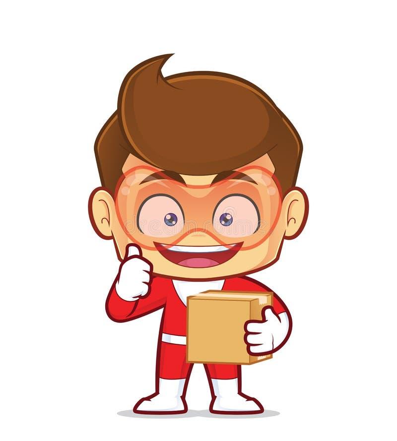 Superhero carrying a box stock illustration