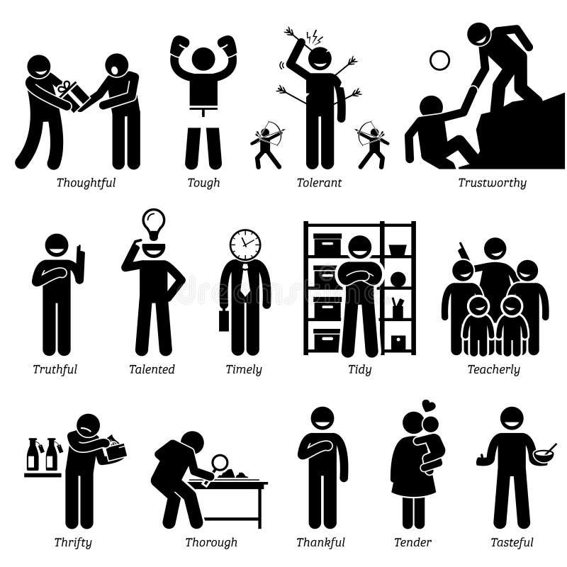 Clipart positivo di tratti di carattere di personalità illustrazione di stock