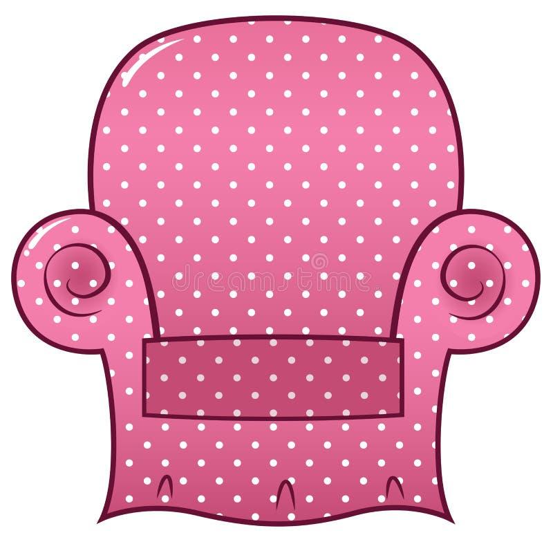 Clipart punteado rosa de la silla ilustración del vector