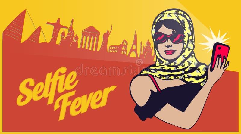 Clipart retro do vintage: senhora do turista do viajante que toma o selfie com o mundo que sightseeing ilustração stock