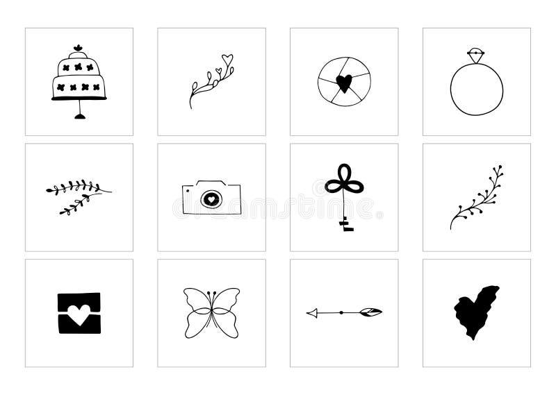 Clipart romântico e do casamento, elementos femininos do logotipo ilustração stock