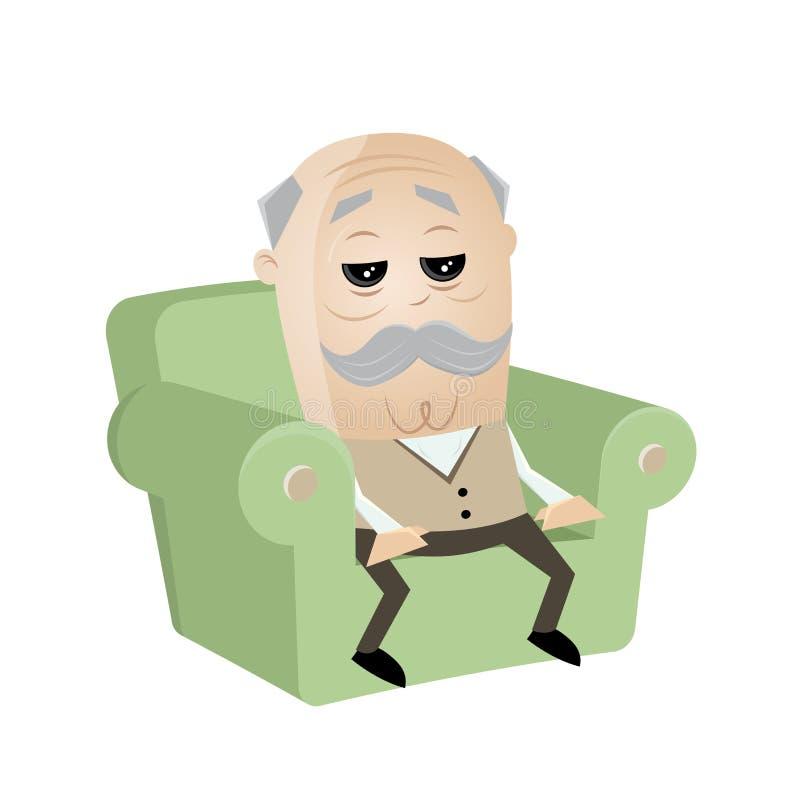 Clipart senior w kanapie royalty ilustracja