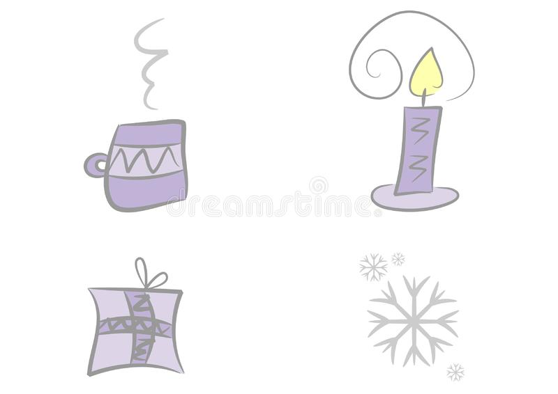 Clipart set: Advent and christmas royalty free stock photo