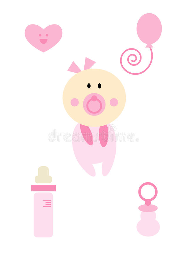 Clipart Set: Baby Girl (pink) Royalty Free Stock Photography
