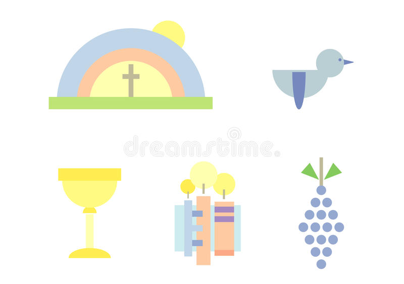 Clipart Set: Holy Communion. Set of five colorful illustrations suitable for design related to religion/christianity/communion - included are rainbow, cross ( vector illustration