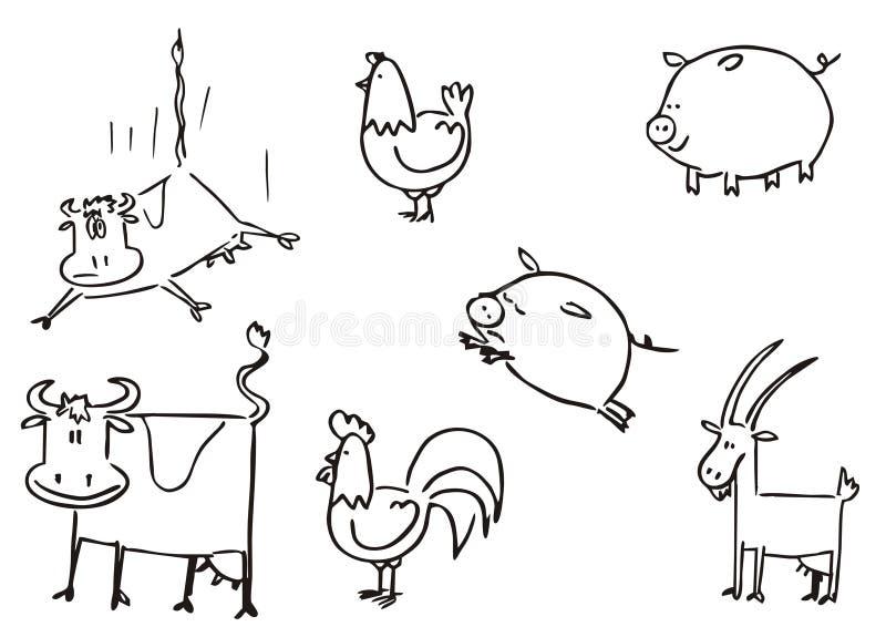 Clipart simple d'animaux de ferme illustration de vecteur