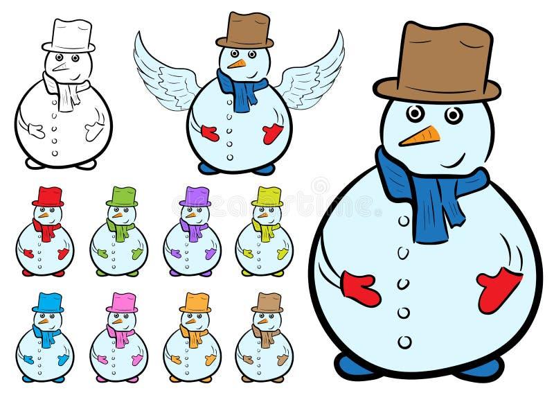 Clipart with snowmen stock illustration