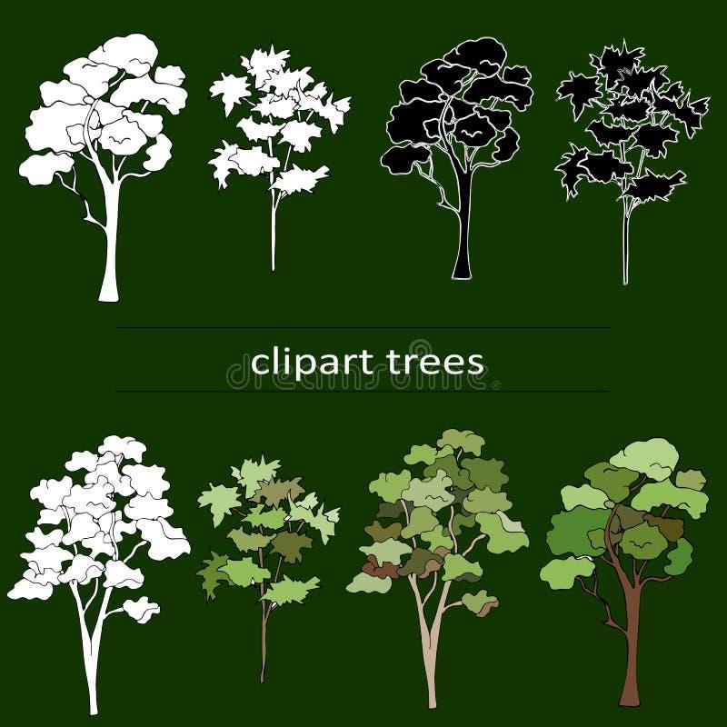 Clipart svartvita träd på en grön bakgrund royaltyfri illustrationer