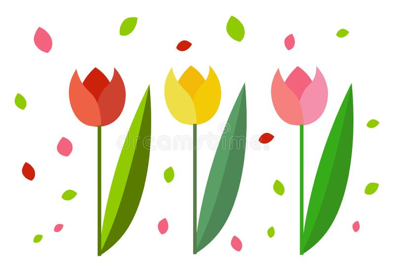 Clipart of three beautiful tulips/Colorful flowers vector or color illustration stock illustration