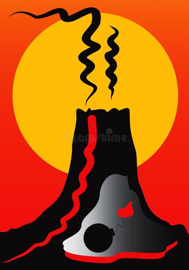 Clipart tiré par la main de volcan illustration libre de droits