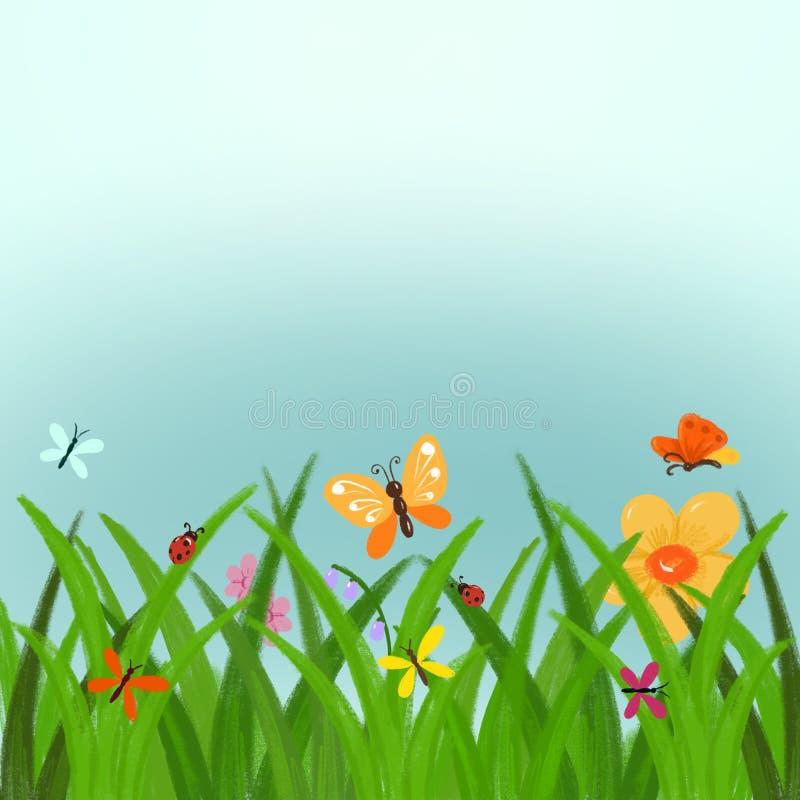 Clipart tirado mão da mola ou do verão - grama verde com flores e beira das borboletas com fundo do céu azul para o cartaz da mol ilustração royalty free