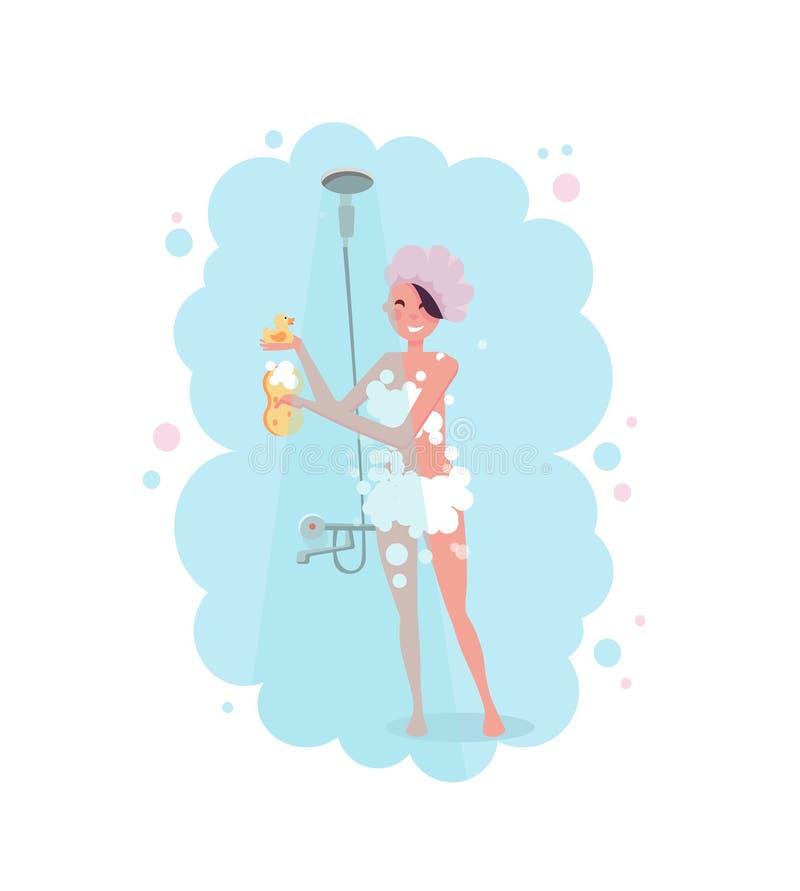Clipart van een gelukkige jonge vrouw in douche GLB die een douche in roze stoom nemen die op witte achtergrond wordt geïsoleerd  royalty-vrije illustratie