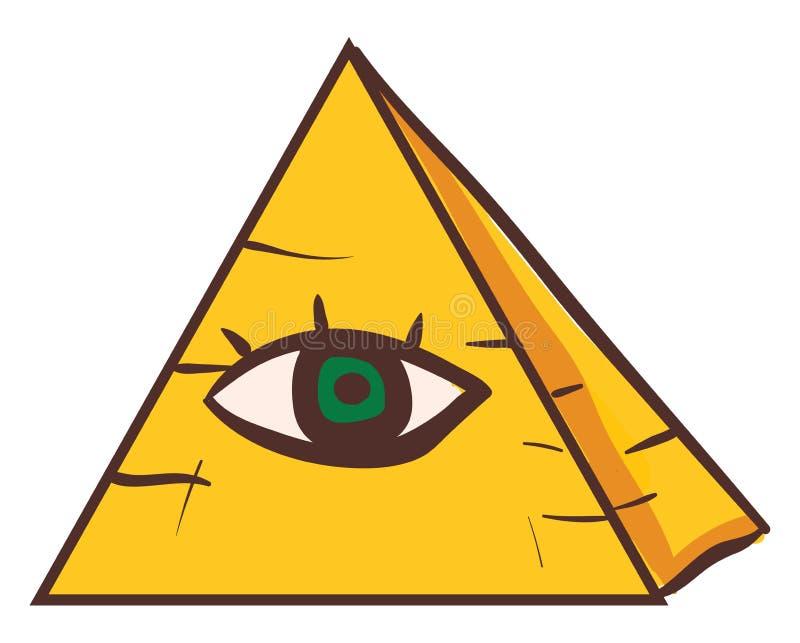 Clipart van een menselijk groen oog op een piramide die op witte achtergrond wordt geïsoleerd wordt bekeken van de voorzijde, de  royalty-vrije illustratie