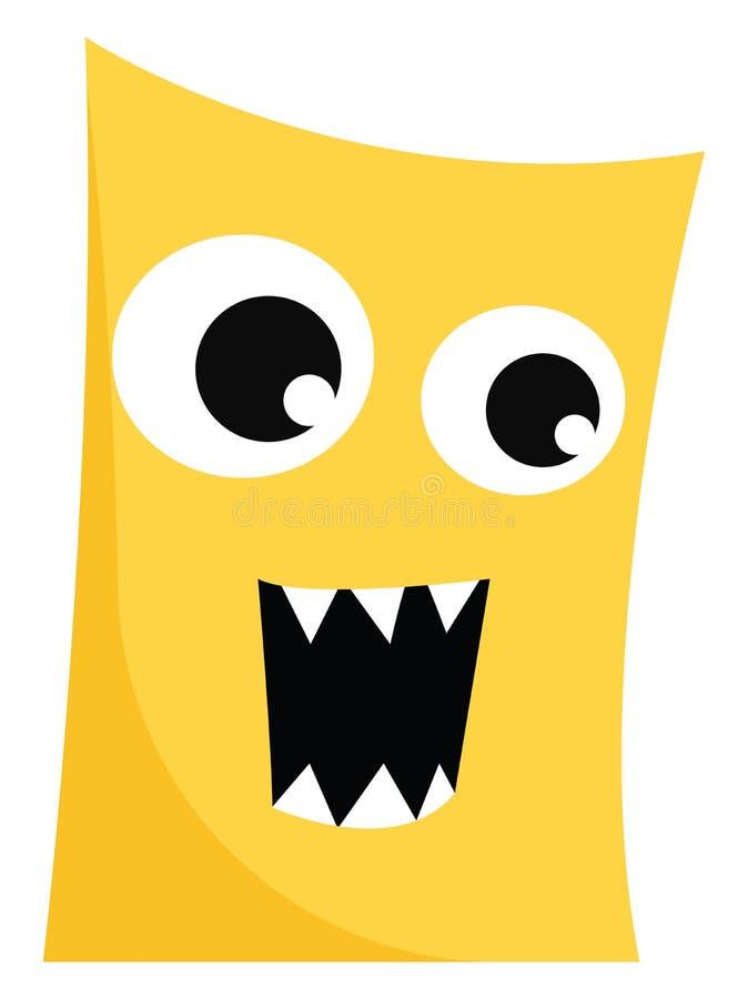 Clipart van een woeste gele monster met mondopening alsof het explodeert met woede, vector of kleurenillustratie stock illustratie