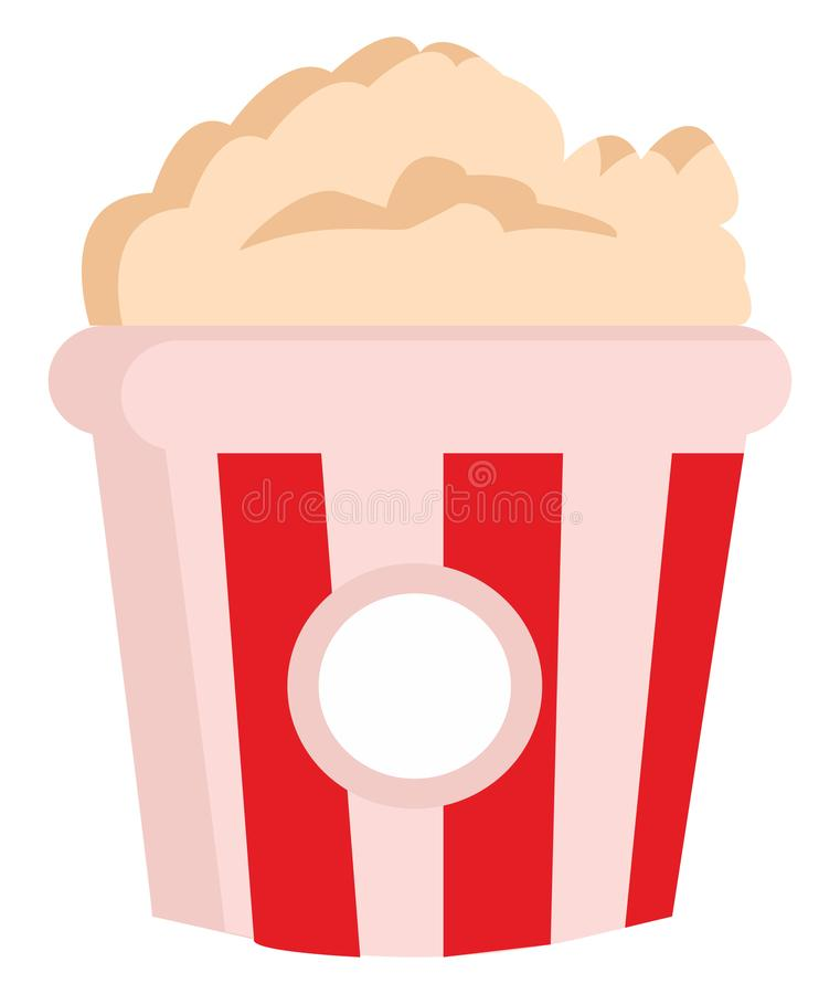 Clipart of yummy popcorn in a big paper bag with red and white stripes vector or or color illustration vektor illustrationer