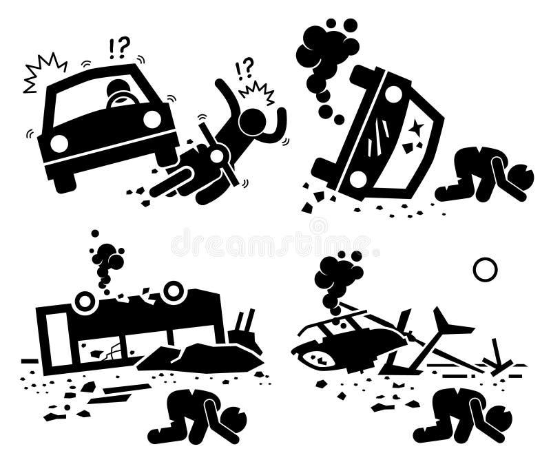 Cliparts för helikopter för buss för bil för tragedi för katastrofvägolycka symboler stock illustrationer