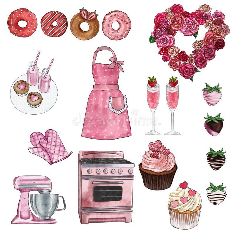 Cliparts samling - grupp av objekt - valentin och retro kök- och bageriuppsättning - muffin, donuts, ugn, kökhjälpmedel vektor illustrationer