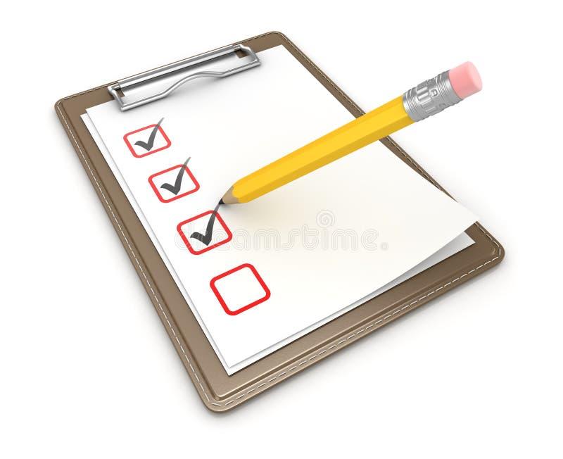 Clipboard и карандаш иллюстрация вектора