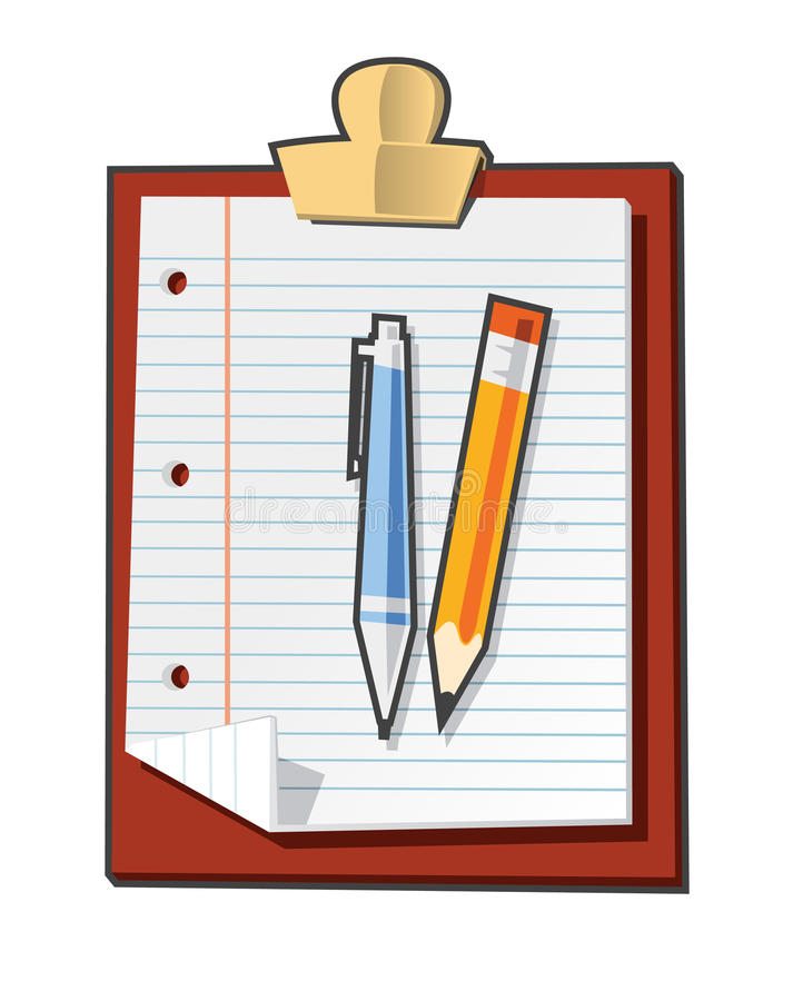 Download Clipboard stock vector. Image of pencil, document, letter - 11950543