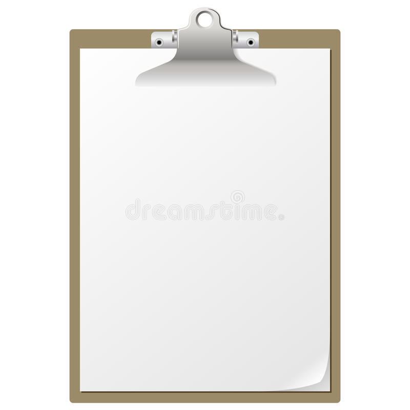 Clipboard. Blank paper on clipboard with pencil isolated on white background stock illustration