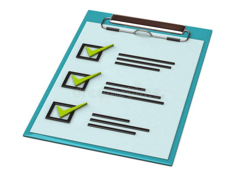 Clipboard. 3d illustration of note paper clipboard with check list royalty free illustration