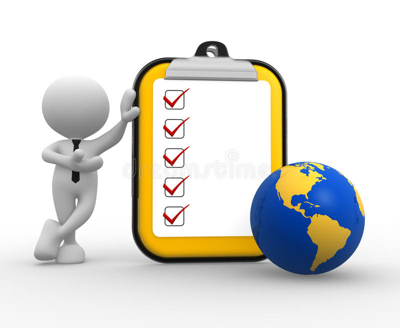 Clipboard. 3d people - man, person with clipboard and earth globe stock illustration