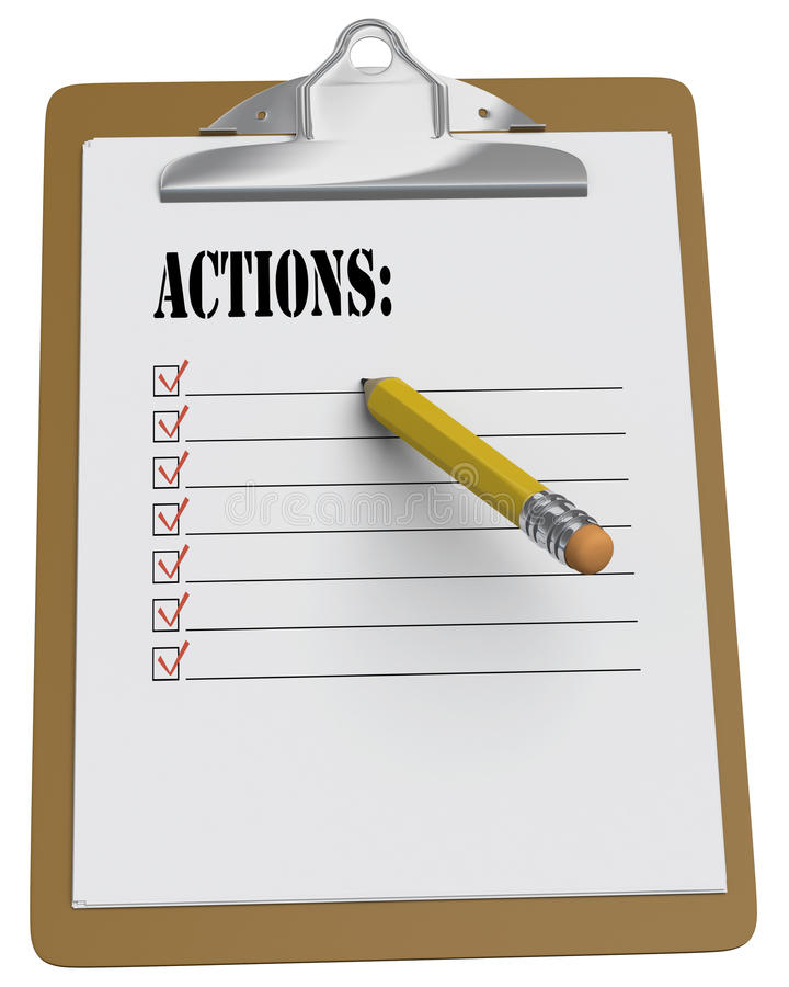 Clipboard with Actions List and stubby pencil vector illustration