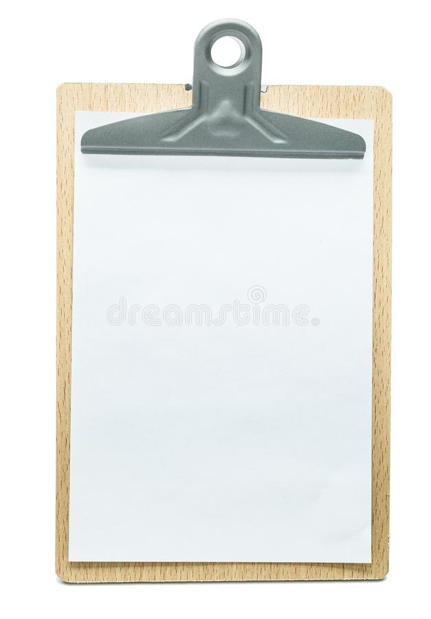 Clipboard with blanc white sheet of paper isolated royalty free stock photos