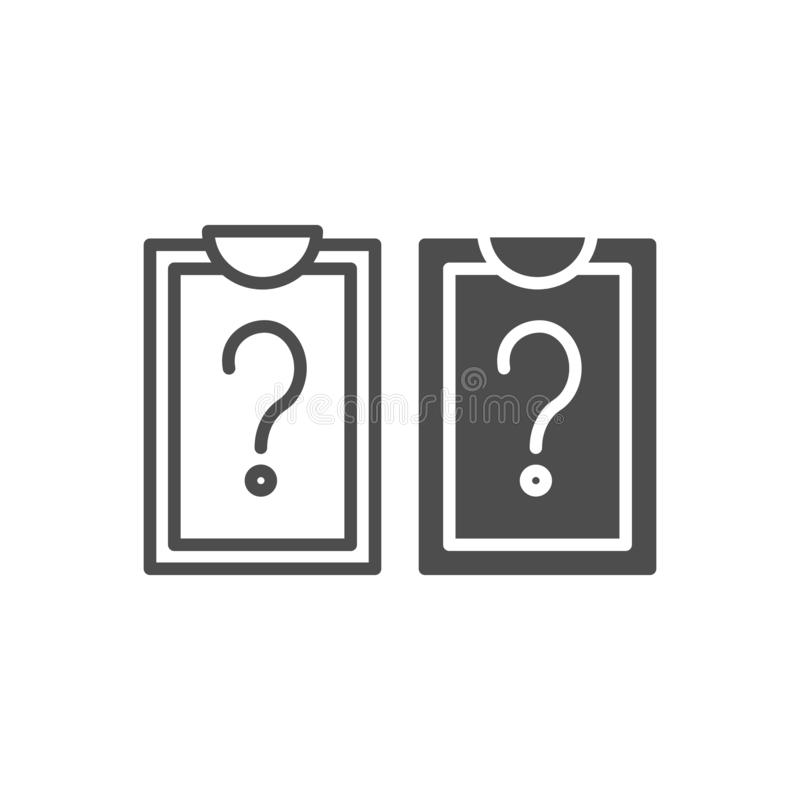 Clipboard with blank list line and glyph icon. List with question mark vector illustration isolated on white. Document royalty free illustration