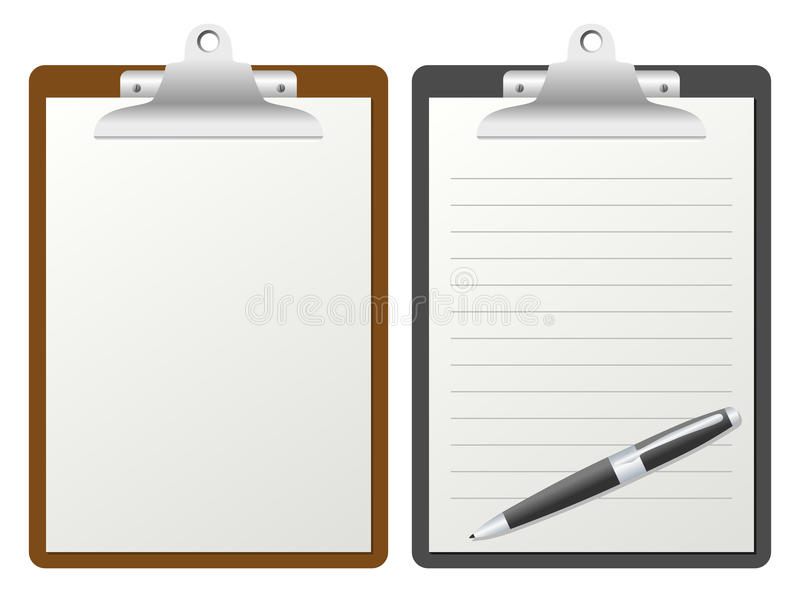 Clipboard with Blank Paper stock illustration