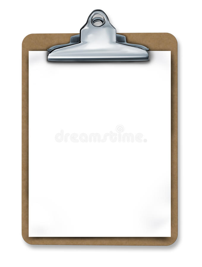 Clipboard with blank paper isolated