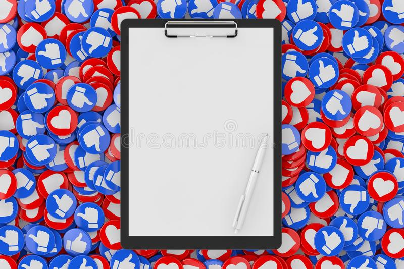 Clipboard with Blank Paper and Pen over Heap of Social Media Network Love and Like Heart Badges Coins Background Texture. 3d. Clipboard with Blank Paper and Pen stock illustration