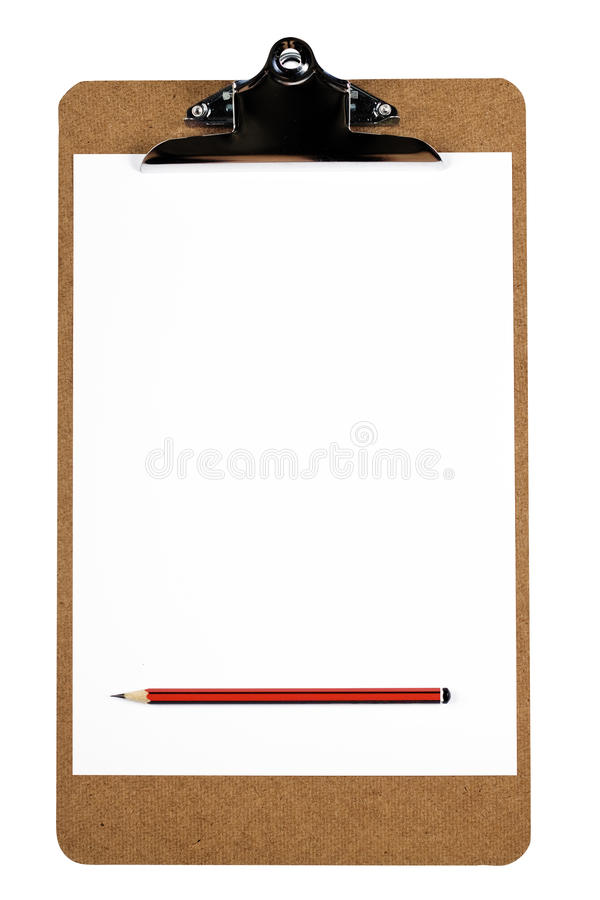 Download Clipboard With Blank Paper And Pencil Stock Image - Image: 13569245