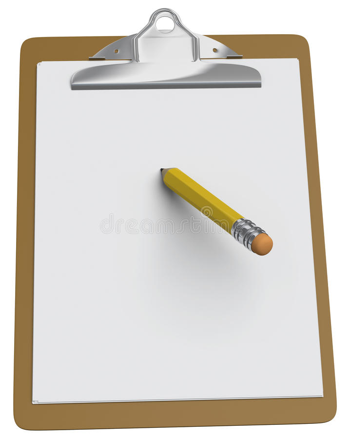 Clipboard with blank paper and yellow pencil stock photo