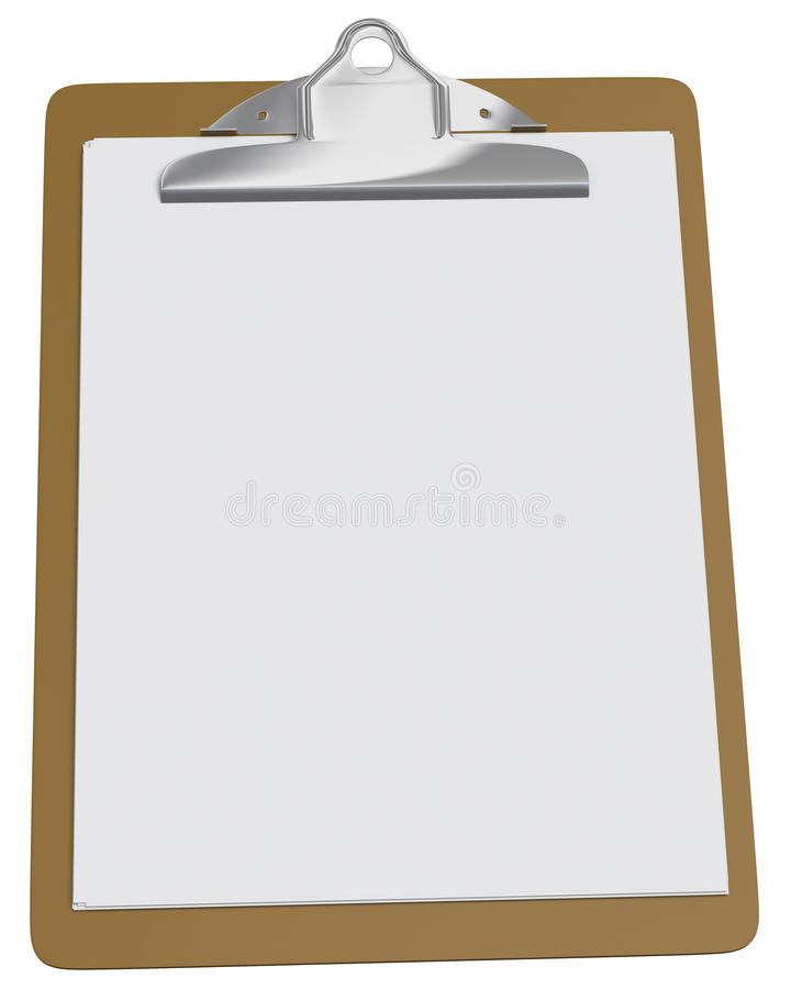 Clipboard with blank white paper stock photos