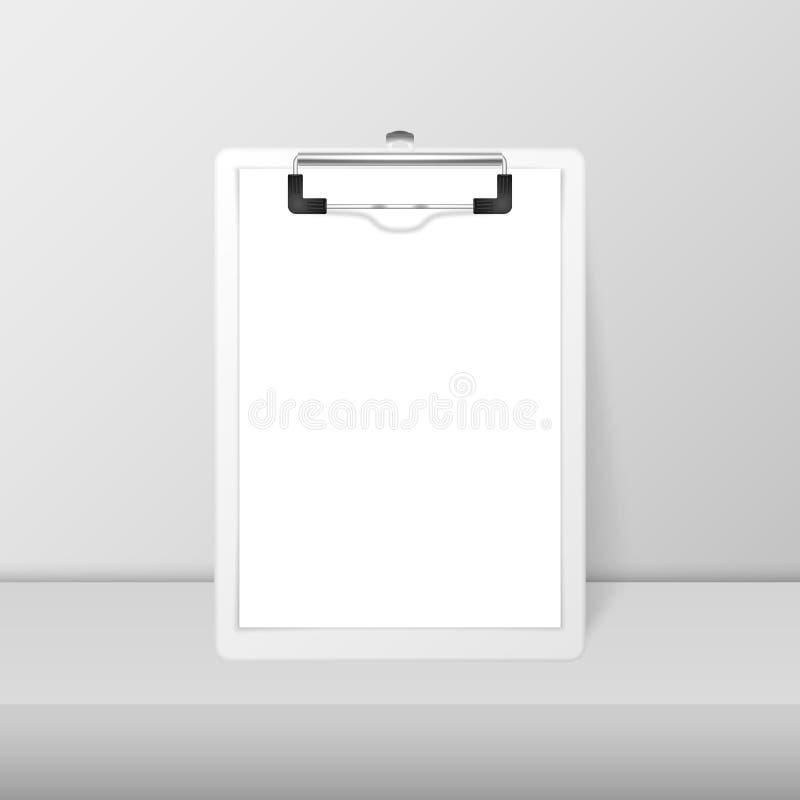 Clipboard branca realista de vetor 3d com papel em branco e clipe metálico Modelo de Design para Notas, Mockup, Checklist ilustração do vetor