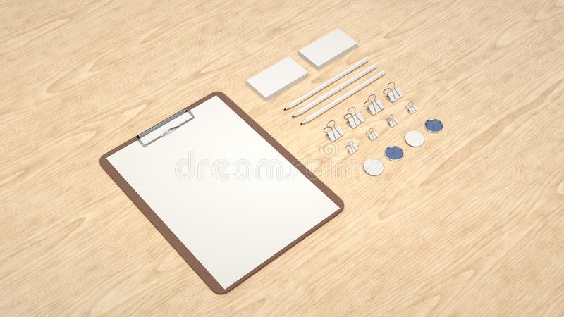 Clipboard, business cards, binder clips, badges and pencils. Branding mockup. Clipboard with sheet of paper, business cards, binder clips, badges and pencils. 3D vector illustration