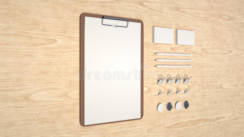 Clipboard, business cards, binder clips, badges and pencils. Branding mockup. Clipboard with sheet of paper, business cards, binder clips, badges and pencils. 3D royalty free illustration