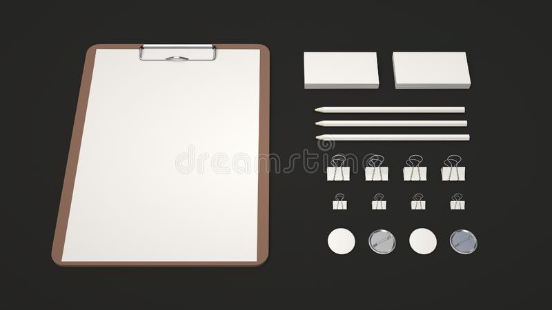 Clipboard, business cards, binder clips, badges and pencils. Branding mockup. Clipboard with sheet of paper, business cards, binder clips, badges and pencils. 3D stock illustration